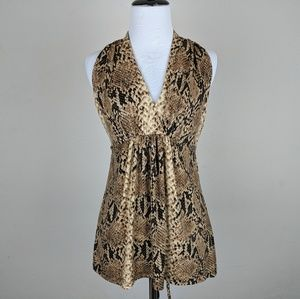 Cache Brown Snakeskin Patterned Sleeveless Top